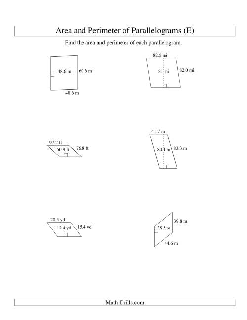 The Area and Perimeter of Parallelograms (up to 1 decimal place; range 10-99) (E) Math Worksheet