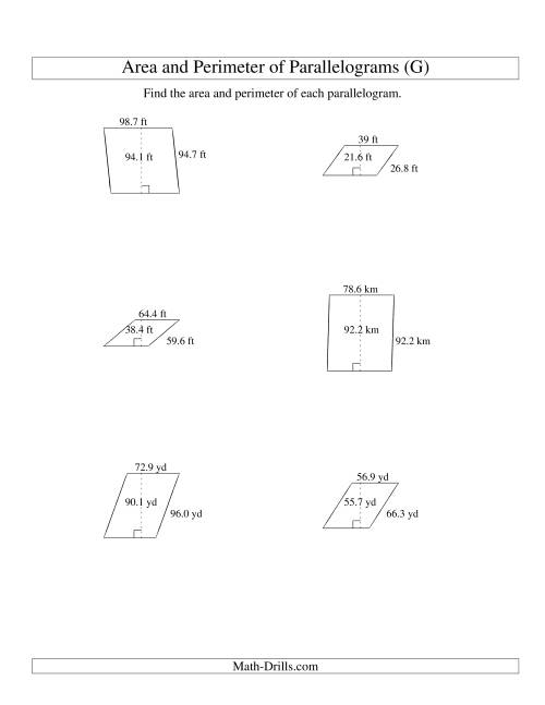 The Area and Perimeter of Parallelograms (up to 1 decimal place; range 10-99) (G) Math Worksheet