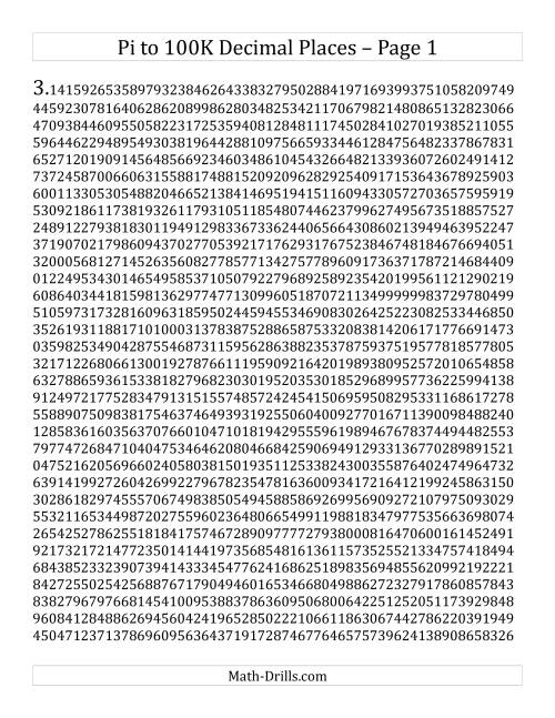 picture about Pi Printable called Pi towards 100k Decimal Sites