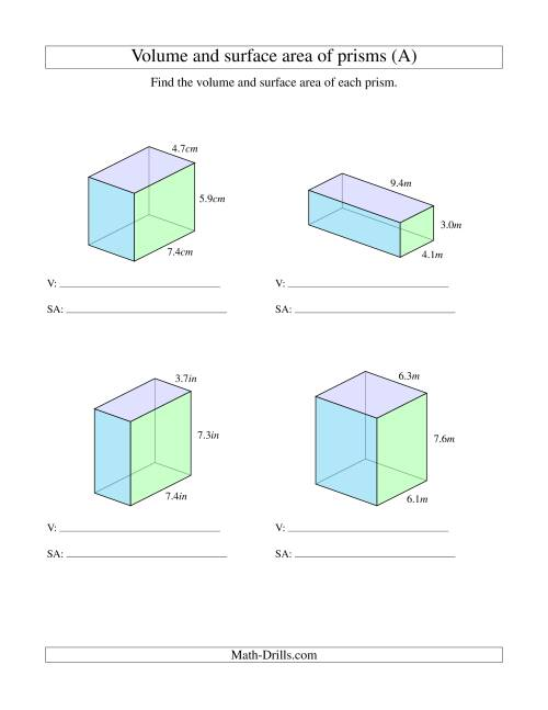 The Volume and Surface Area of Rectangular Prisms with Decimal Numbers (A) Math Worksheet