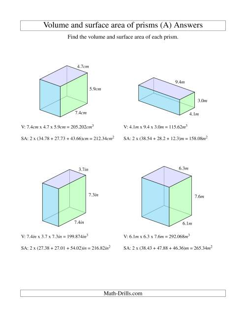 ... The Volume and Surface Area of Rectangular Prisms with Decimal Numbers (A) Math Worksheet