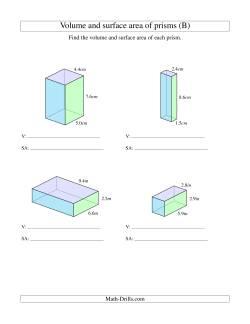 volume and surface area of rectangular prisms with decimal numbers b measurement worksheet. Black Bedroom Furniture Sets. Home Design Ideas