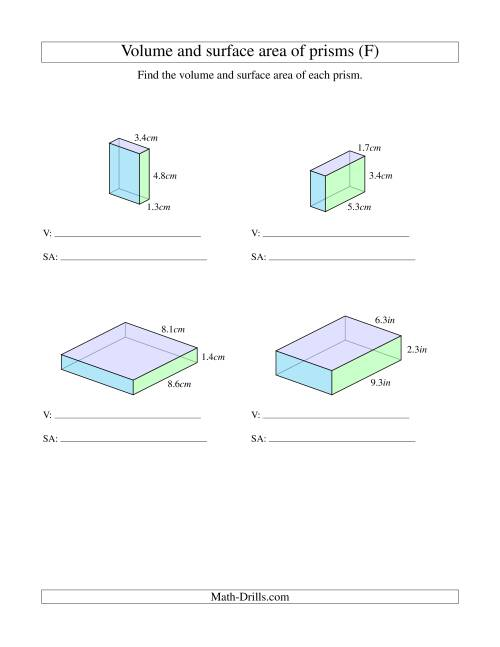 Volume And Surface Area Of Rectangular Prisms With Decimal