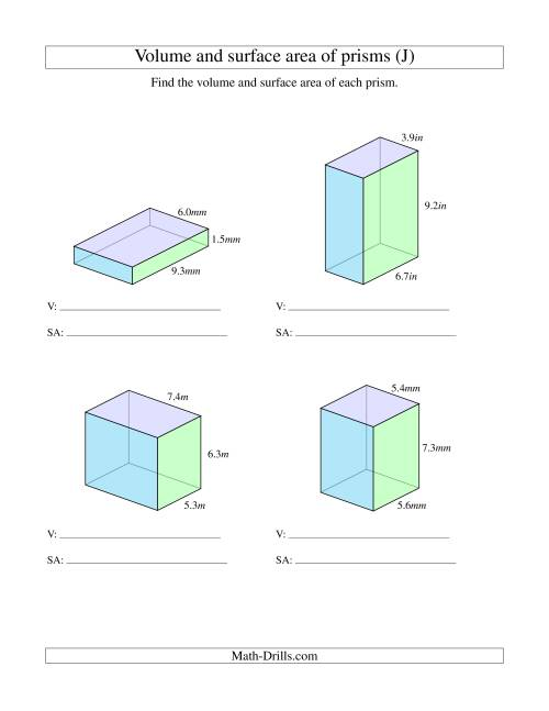 The Volume and Surface Area of Rectangular Prisms with Decimal Numbers (J) Math Worksheet