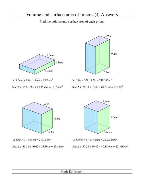 The Volume and Surface Area of Rectangular Prisms with Decimal Numbers (J) Math Worksheet Page 2