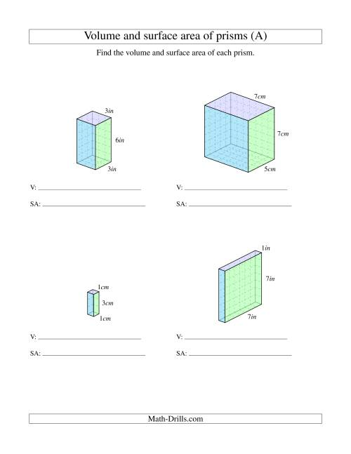 The Volume and Surface Area of Rectangular Prisms with Whole Numbers (A) Math Worksheet