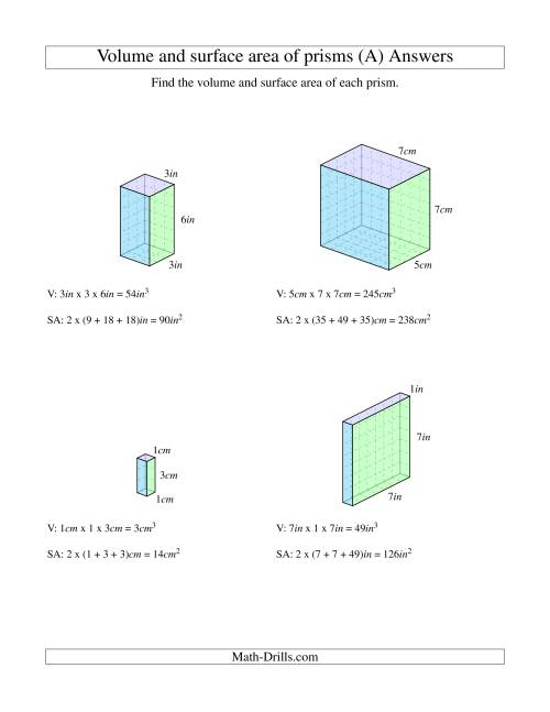 The Volume and Surface Area of Rectangular Prisms with Whole Numbers (A) Math Worksheet Page 2