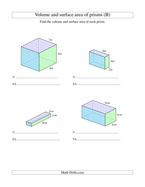 The Volume and Surface Area of Rectangular Prisms with Whole Numbers (B) Math Worksheet