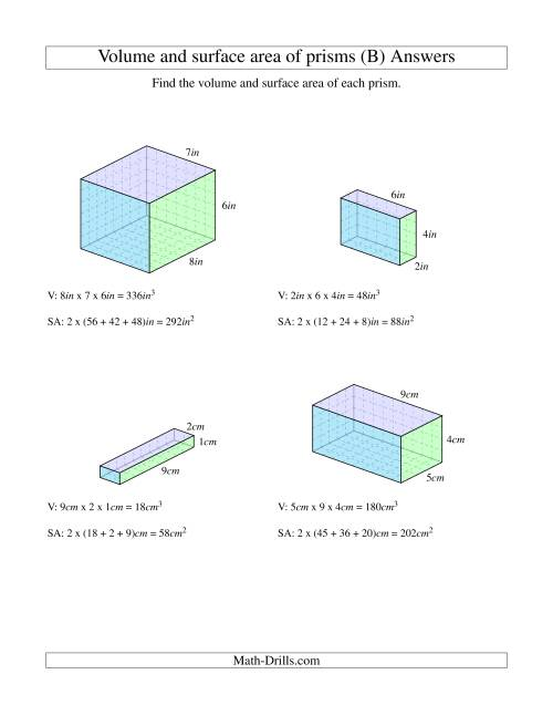The Volume and Surface Area of Rectangular Prisms with Whole Numbers (B) Math Worksheet Page 2