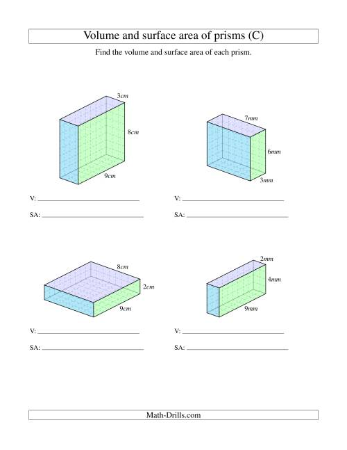 The Volume and Surface Area of Rectangular Prisms with Whole Numbers (C) Math Worksheet