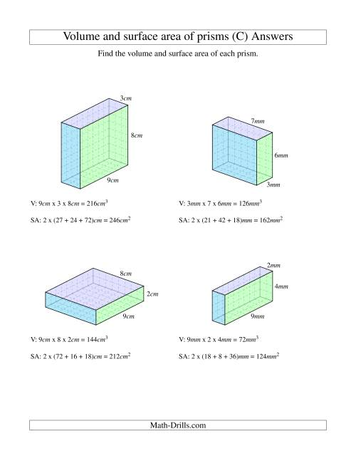 The Volume and Surface Area of Rectangular Prisms with Whole Numbers (C) Math Worksheet Page 2