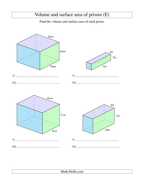 The Volume and Surface Area of Rectangular Prisms with Whole Numbers (E) Math Worksheet