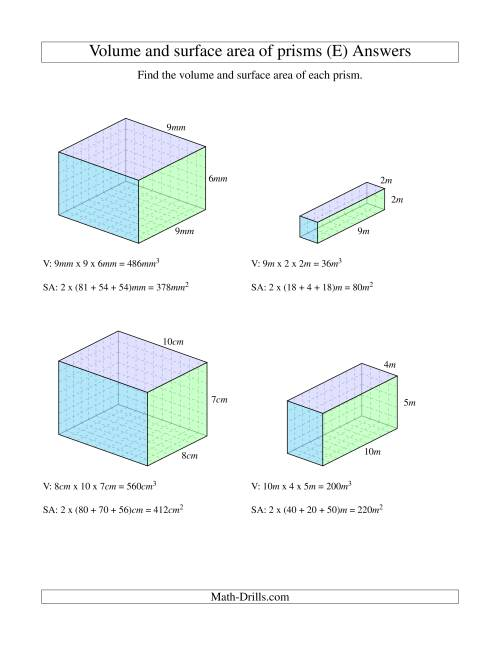 The Volume and Surface Area of Rectangular Prisms with Whole Numbers (E) Math Worksheet Page 2