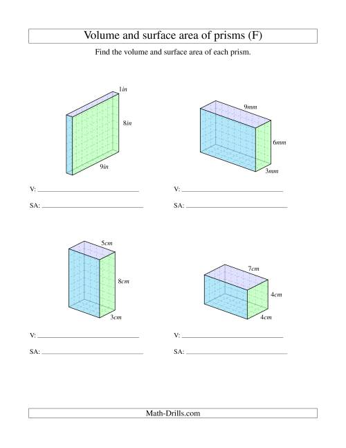 The Volume and Surface Area of Rectangular Prisms with Whole Numbers (F) Math Worksheet