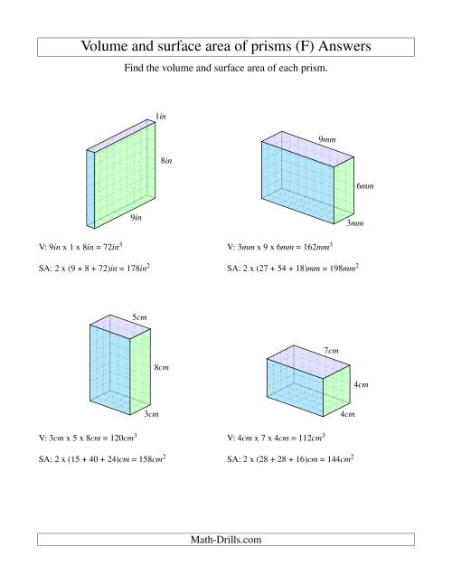 The Volume and Surface Area of Rectangular Prisms with Whole Numbers (F) Math Worksheet Page 2