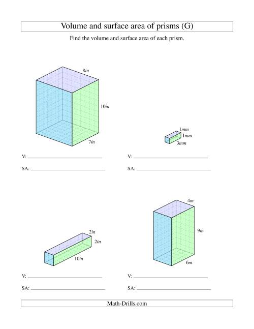 The Volume and Surface Area of Rectangular Prisms with Whole Numbers (G) Math Worksheet