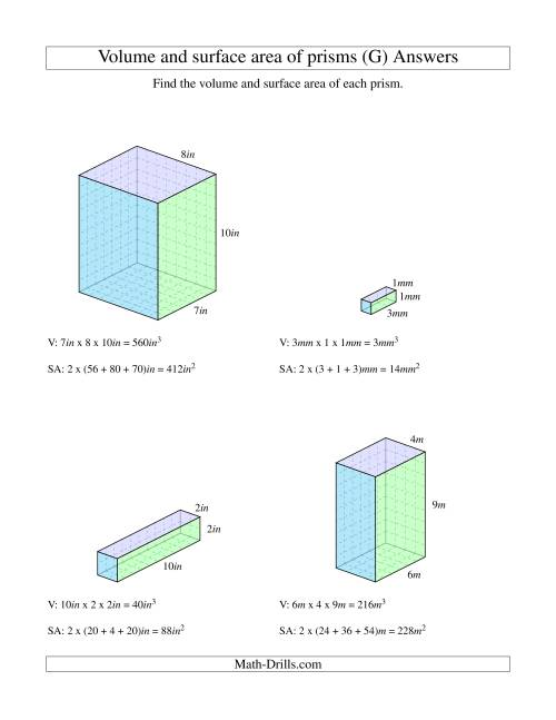 The Volume and Surface Area of Rectangular Prisms with Whole Numbers (G) Math Worksheet Page 2
