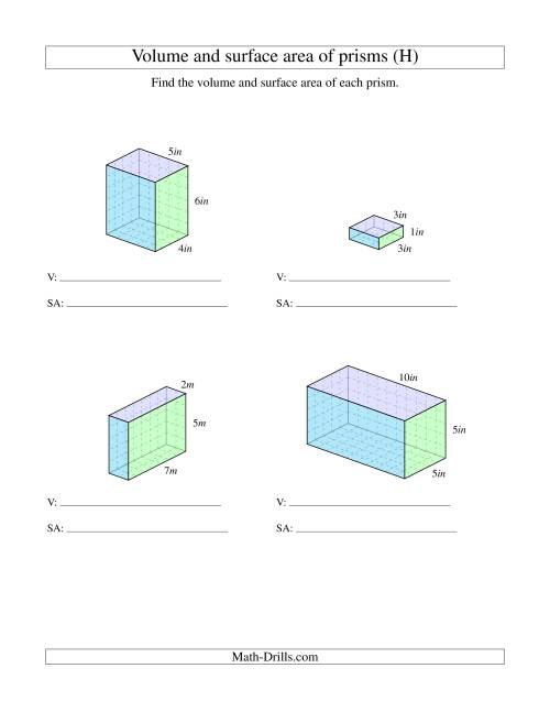 The Volume and Surface Area of Rectangular Prisms with Whole Numbers (H) Math Worksheet