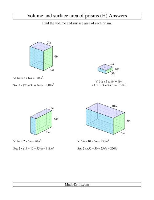 The Volume and Surface Area of Rectangular Prisms with Whole Numbers (H) Math Worksheet Page 2