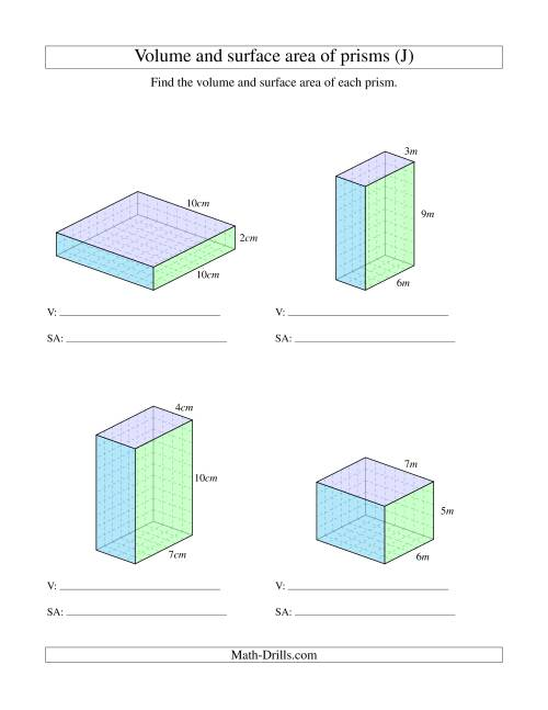 The Volume and Surface Area of Rectangular Prisms with Whole Numbers (J) Math Worksheet