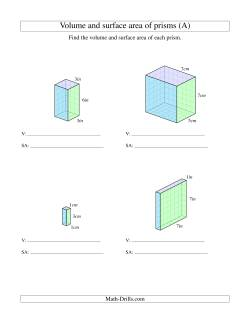 volume and surface area of rectangular prisms with whole numbers all measurement worksheet. Black Bedroom Furniture Sets. Home Design Ideas