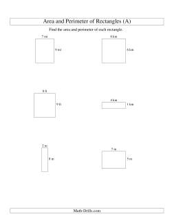 Area and Perimeter of Rectangles (whole numbers; range 1-9) (A)