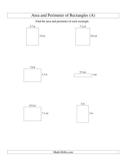 The Area and Perimeter of Rectangles (up to 1 decimal place; range 1-9) (A) Math Worksheet