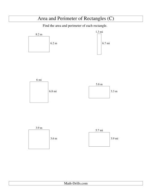 The Area and Perimeter of Rectangles (up to 1 decimal place; range 1-9) (C) Math Worksheet