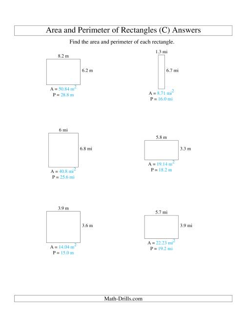 The Area and Perimeter of Rectangles (up to 1 decimal place; range 1-9) (C) Math Worksheet Page 2