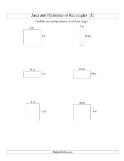Area and Perimeter of Rectangles (whole numbers; range 5-20)