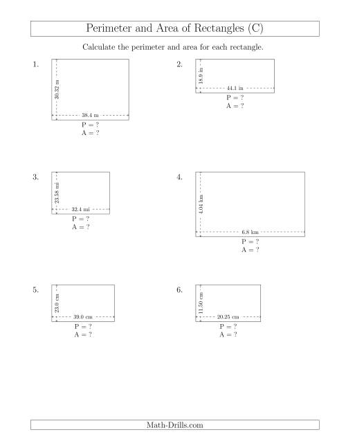 The Calculating the Perimeter and Area of Rectangles from Side Measurements (Decimal Numbers) (C) Math Worksheet