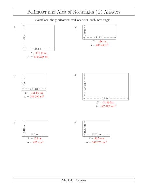 The Calculating the Perimeter and Area of Rectangles from Side Measurements (Decimal Numbers) (C) Math Worksheet Page 2