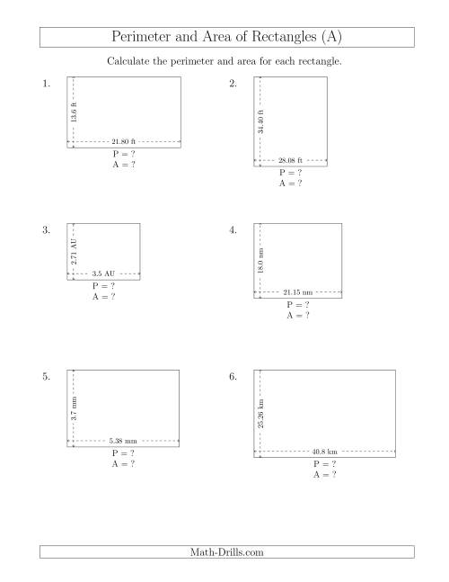 The Calculating the Perimeter and Area of Rectangles from Side Measurements (Decimal Numbers) (All) Math Worksheet
