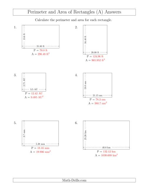 The Calculating the Perimeter and Area of Rectangles from Side Measurements (Decimal Numbers) (All) Math Worksheet Page 2