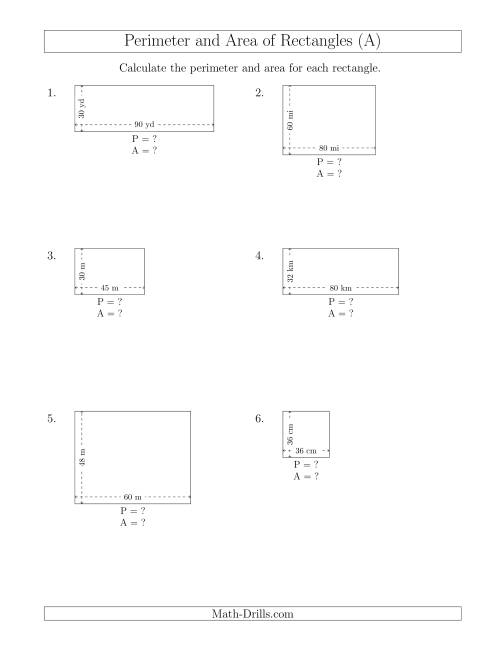 The Calculating the Perimeter and Area of Rectangles from Side Measurements (Larger Whole Numbers) (A) Math Worksheet