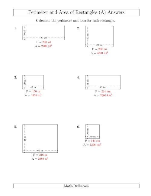 The Calculating the Perimeter and Area of Rectangles from Side Measurements (Larger Whole Numbers) (A) Math Worksheet Page 2