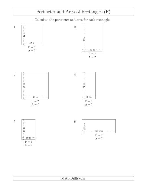 The Calculating the Perimeter and Area of Rectangles from Side Measurements (Larger Whole Numbers) (F) Math Worksheet