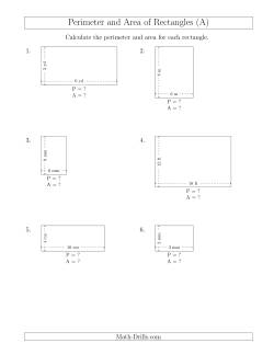 Calculating the Perimeter and Area of Rectangles from Side Measurements (Smaller Whole Numbers) (A)