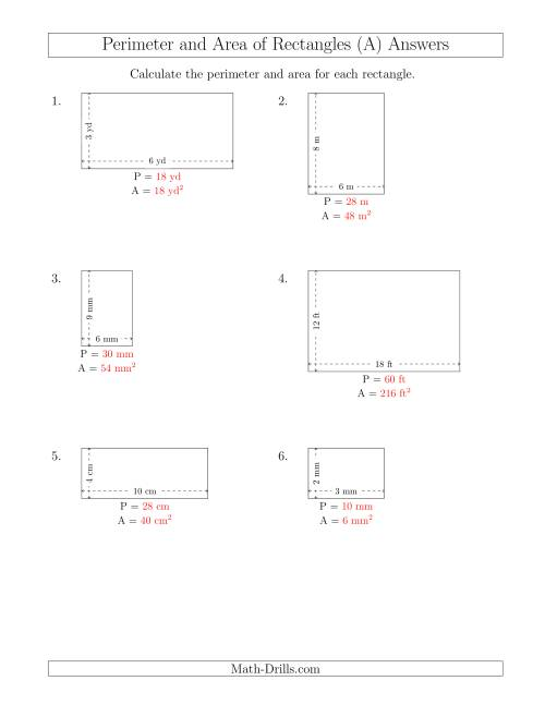 The Calculating the Perimeter and Area of Rectangles from Side Measurements (Smaller Whole Numbers) (A) Math Worksheet Page 2