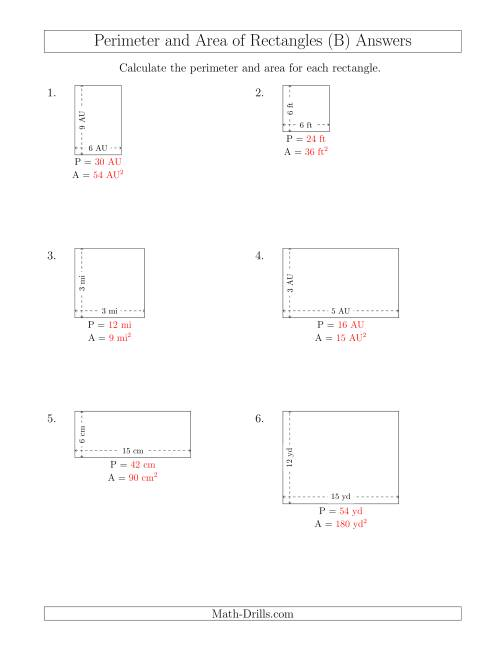 The Calculating the Perimeter and Area of Rectangles from Side Measurements (Smaller Whole Numbers) (B) Math Worksheet Page 2