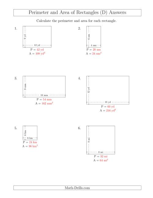 The Calculating the Perimeter and Area of Rectangles from Side Measurements (Smaller Whole Numbers) (D) Math Worksheet Page 2