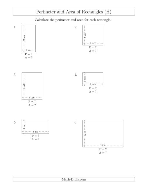 The Calculating the Perimeter and Area of Rectangles from Side Measurements (Smaller Whole Numbers) (H) Math Worksheet