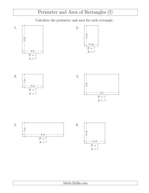 The Calculating the Perimeter and Area of Rectangles from Side Measurements (Smaller Whole Numbers) (I) Math Worksheet