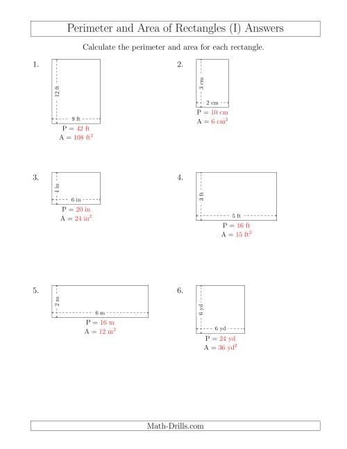 The Calculating the Perimeter and Area of Rectangles from Side Measurements (Smaller Whole Numbers) (I) Math Worksheet Page 2