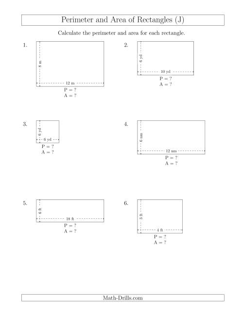 The Calculating the Perimeter and Area of Rectangles from Side Measurements (Smaller Whole Numbers) (J) Math Worksheet