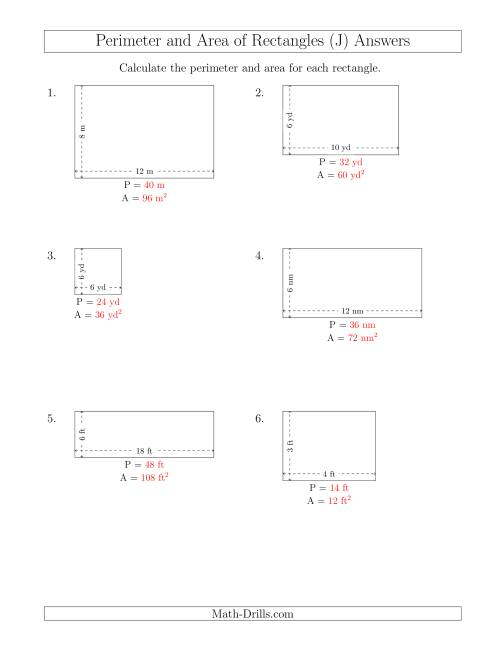 The Calculating the Perimeter and Area of Rectangles from Side Measurements (Smaller Whole Numbers) (J) Math Worksheet Page 2