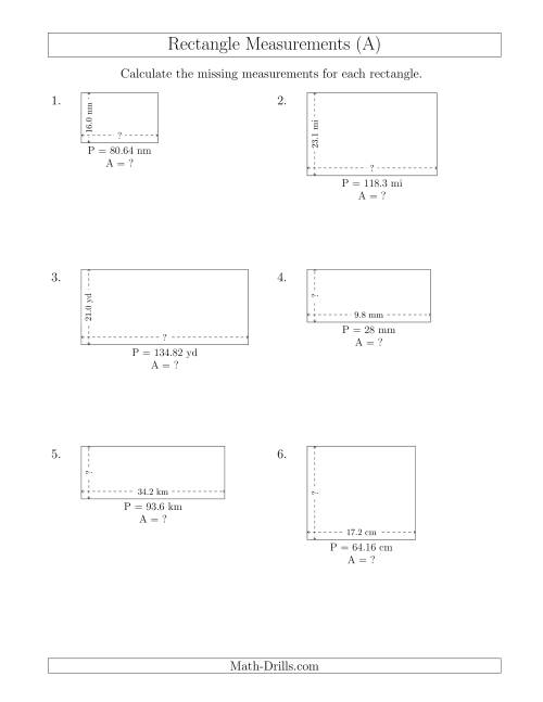 The Calculating the Side and Area Measurements of Rectangles from Perimeter and Side Measurements (Decimal Numbers) (A) Math Worksheet