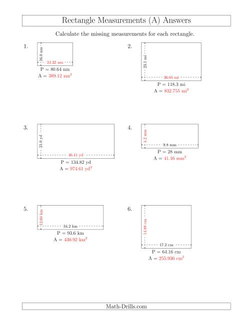 The Calculating the Side and Area Measurements of Rectangles from Perimeter and Side Measurements (Decimal Numbers) (A) Math Worksheet Page 2
