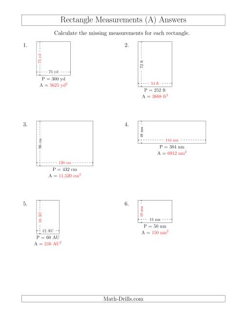 The Calculating the Side and Area Measurements of Rectangles from Perimeter and Side Measurements (Larger Whole Numbers) (A) Math Worksheet Page 2