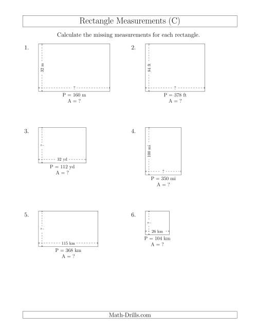 The Calculating the Side and Area Measurements of Rectangles from Perimeter and Side Measurements (Larger Whole Numbers) (C) Math Worksheet